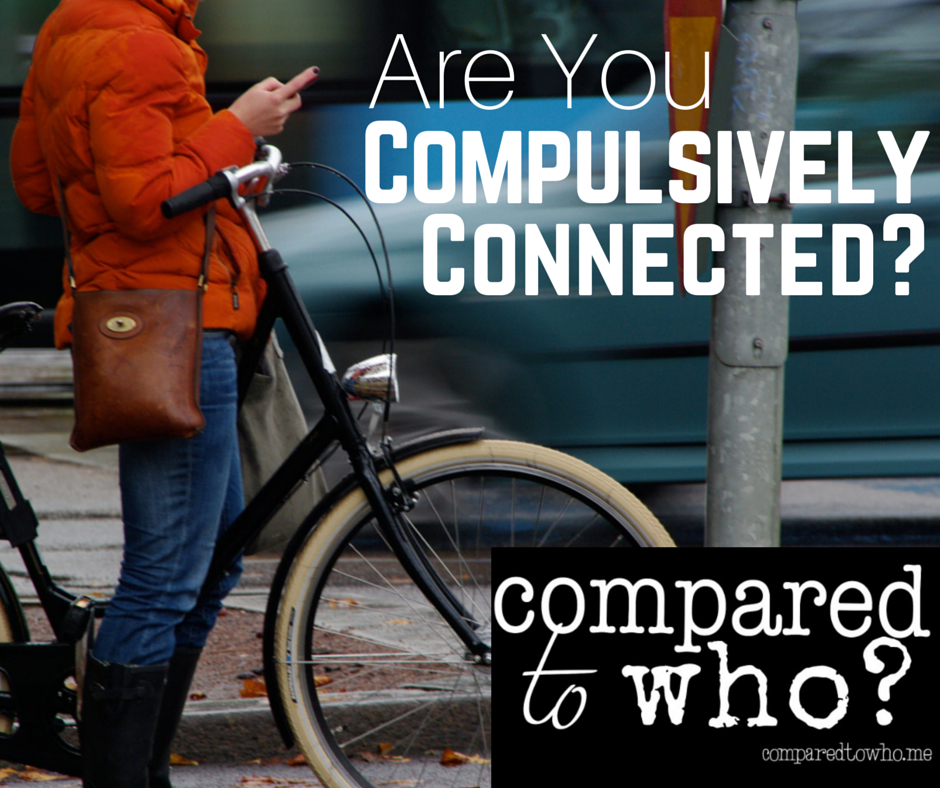 Are you compulsively connected? Image of a woman riding a bike on cell phone