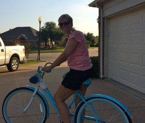 My birthday present! A new cruiser bicycle in powder blue!