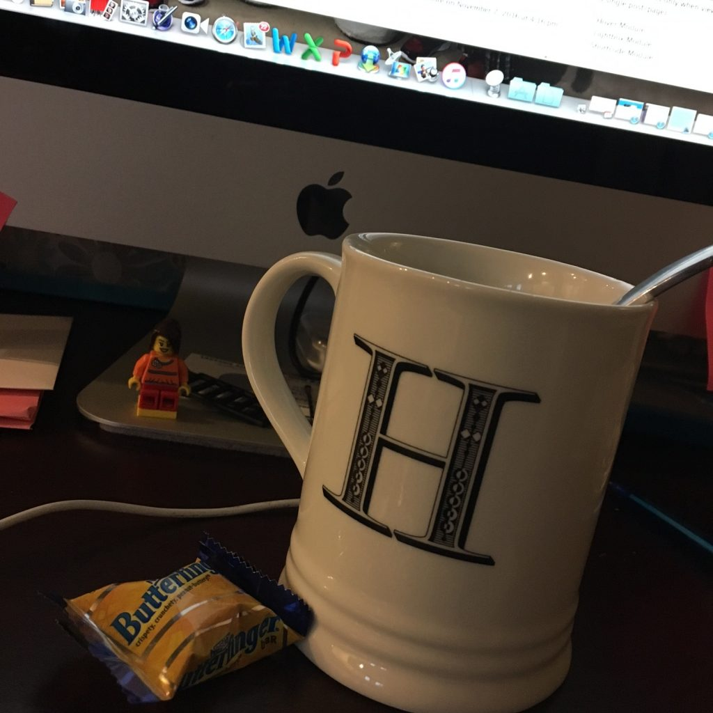 coffee cup and butterfingers