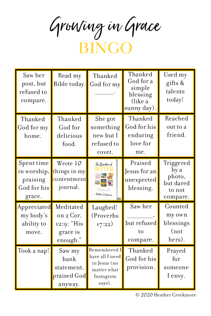 Burden of Better Bingo to Grow in Grace and Live Comparison-Free Life