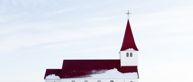 church, snow, winter